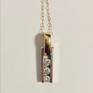 14K Two Tone Diamond Drop Linear Pendant and Chain